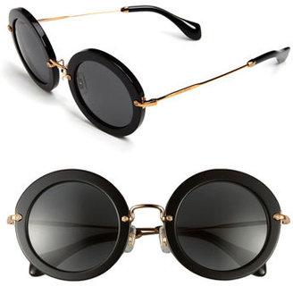Women's Miu Miu 49Mm Round Retro Sunglasses - Black
