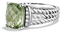 David Yurman Petite Wheaton Ring with Prasiolite and Diamonds $495 thestylecure.com
