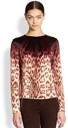 J Brand Ready-To-Wear Jannie Ombre Leopard Print Blouse