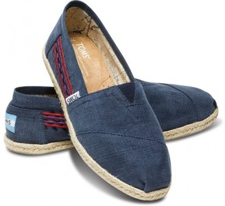 Toms Embroidered navy women's classics