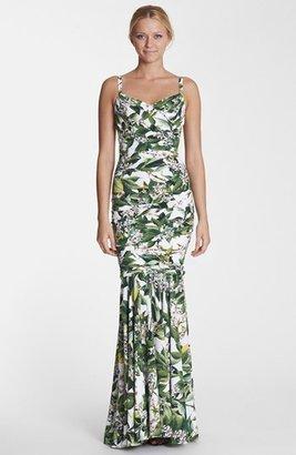 Dolce & Gabbana Lemon Print Ruched Gown