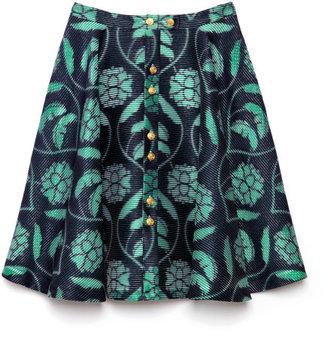 Thom Browne Preorder Seersucker Silk Flared Front Skirt