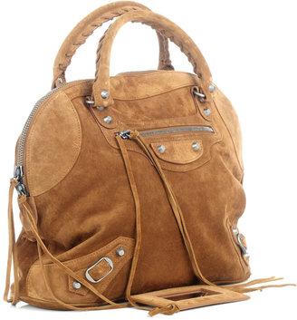 Balenciaga Classic suede bowling bag