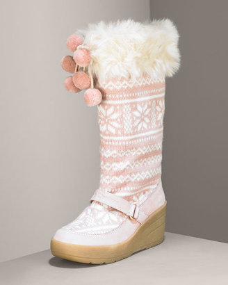 Juicy Couture Knit & Faux Fur Boot