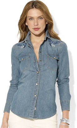 Lauren Ralph Lauren Top, Long-Sleeve Embroidered Chambray Shirt