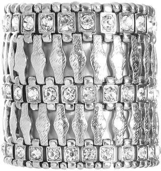 Arden B Rhinestone Textured Metal Bracelet