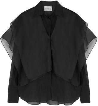 MARK KENLY DOMINO TAN Sedina Black Organza Blouse
