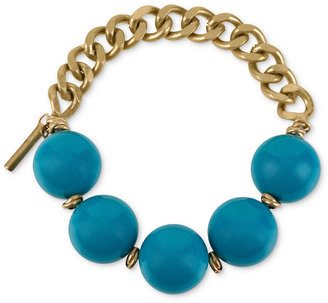 Kenneth Cole New York Bracelet, Gold-Tone Turquoise-Colored Bead Half-Stretch Bracelet