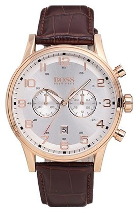 BOSS Men's Chronograph Leather Strap Watch, 44mm - Brown/ Rose Gold
