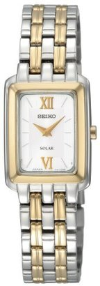 Seiko Women's SUP010 Two-Tone Solar Silver Square Dial Watch $215 thestylecure.com