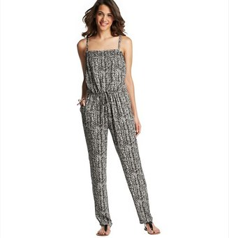 LOFT Inked Feather Print Sleeveless Jumpsuit
