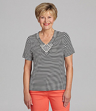 Allison Daley II Embroidered-Trim Stripe Top