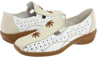 Rieker 41397 Doris 97 (Off-White Leather Combo) - Footwear