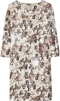 Emma Cook Sequin-print cotton and silk-blend shift dress