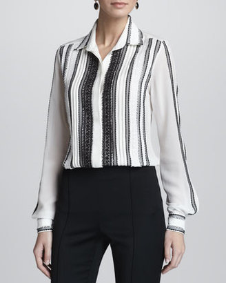 Oscar de la Renta Lace-Embellished Long-Sleeve Silk Blouse