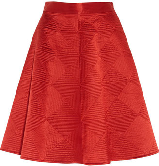 Temperley London Nyla quilted silk-satin skirt