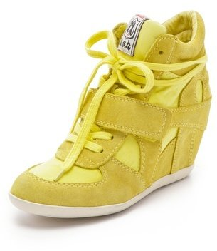 Ash Bowie Suede Wedge Sneakers with Canvas Insets