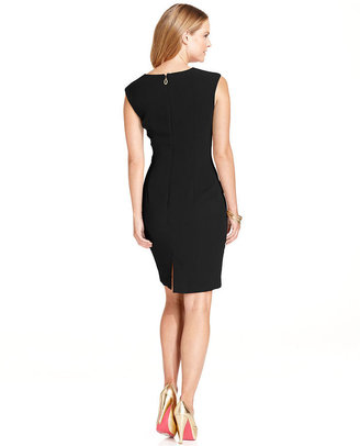 Ivanka Trump Dress, Sleeveless Pleated Buckle Sheath