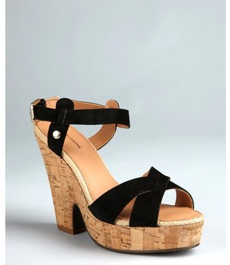 Madison Harding black suede 'Harris' cork wedge sandals