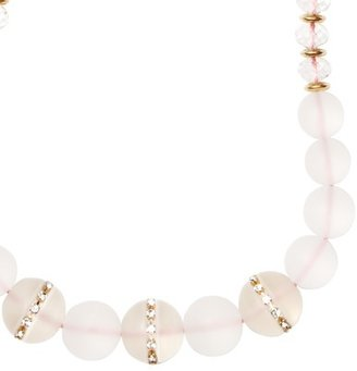 LOFT Long Frosted Bead, Pink Thread and Fireball Necklace