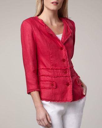 Neiman Marcus Princess Seam Fringe Jacket