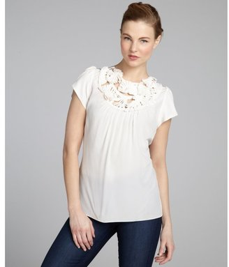 BCBGMAXAZRIA white silk floral appliquéd blouse
