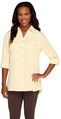 Denim & Co. Roll Tab Sleeve Button Front Soft Utility Tunic