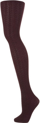 Topshop Burgundy Cable Tights