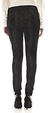 JCPenney Bisou Bisou® 5-Pocket Baroque Flocked Skinny Jeans