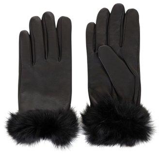 BCBGMAXAZRIA Fur-Trim Leather Gloves