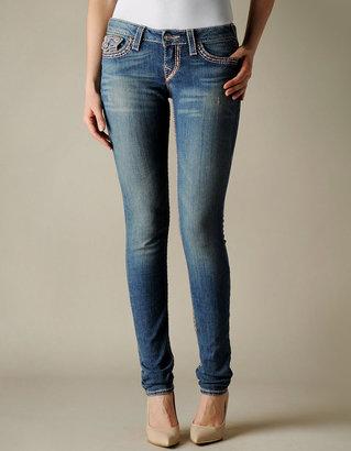 True Religion Womens Hand Picked Skinny Big T Super T Jeans - (Dark Drifter W/O Rips)