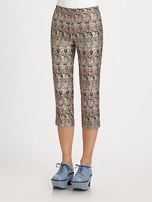 Jil Sander Navy Printed Crop Pants