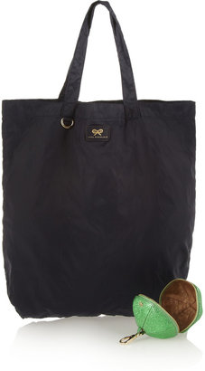Anya Hindmarch Caspar twill shopper in textured-leather pouch