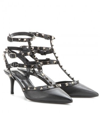 Valentino Rockstud Noir leather kitten-heel pumps