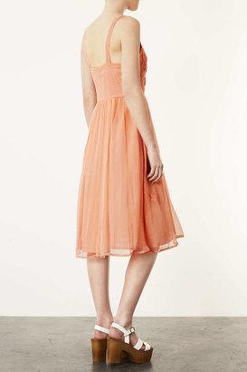Topshop Strappy Applique Midi Dress