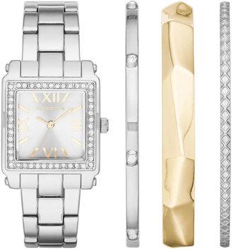 Liz Claiborne Womens Square Crystal Accent Bangle Watch Set