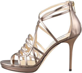 Jimmy Choo Mandie Strappy Mirrored Platform Sandal