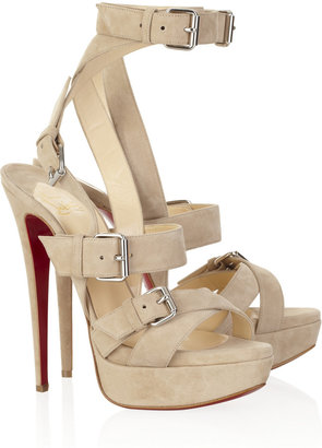 Shoe Porn: Christian Louboutin Toutenkaboucle 150 Suede Buckle Sandals