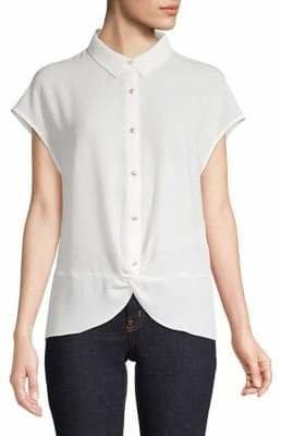 Jones New York Twist-Front Button-Down Shirt