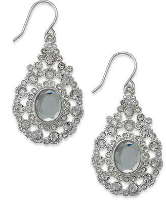 Charter Club Silver-Tone Crystal Pear Drop Earrings