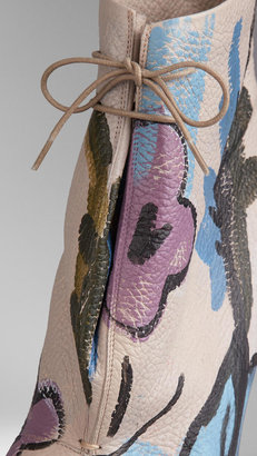 Burberry Hand-Painted Leather Ankle Boots