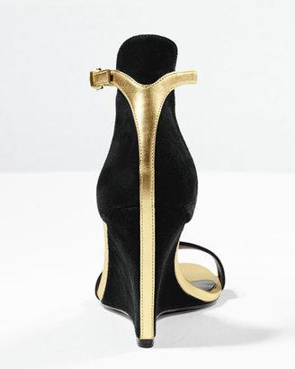 Brian Atwood Roberta Suede Wedge Sandal, Black/Gold