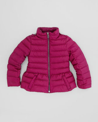 Burberry Girls' Quilted Puffer Jacket, Damson Magenta, 4Y-10Y