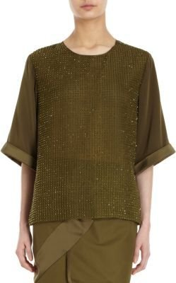Prabal Gurung Stitch and Jeweled Front Top