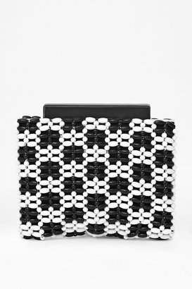 French Connection Mono Frame Beaded Clutch Bag