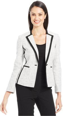 Kasper Single-Button Metallic Tweed Blazer