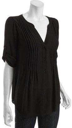 BCBGMAXAZRIA black pintucked chiffon 'Twiggy' blouse
