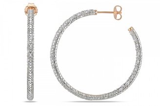 Ice.com 1/2 Carat Diamond Sterling Silver Hoop Earrings w/ Pink Rhodium