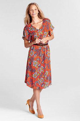Lands' End Women's Petite Short Sleeve Pattern Georgette Pintuck Dress