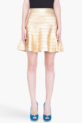 Herve Leger Gold distressed paneled Skirt